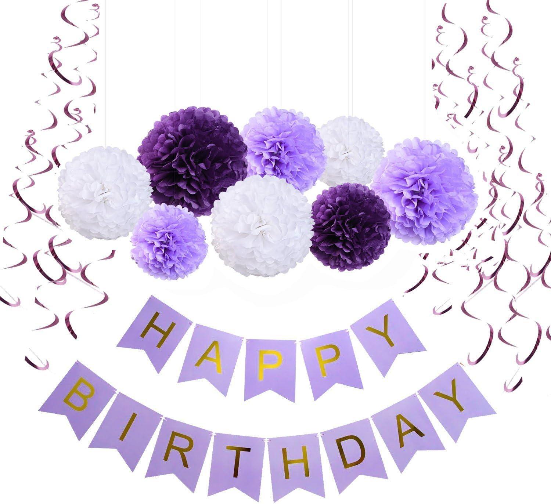 Amazon.com: sopeace feliz cumpleaños Banner Bunting morado ...