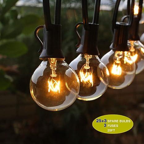 Guirlande Lumineuse Extérieur Accewit Guinguette Lumineuse 25 3 Ampoule Blanc Chaud Etanche 7 62m 25ft Décoration Intérieur Et Extérieur Pour Fête
