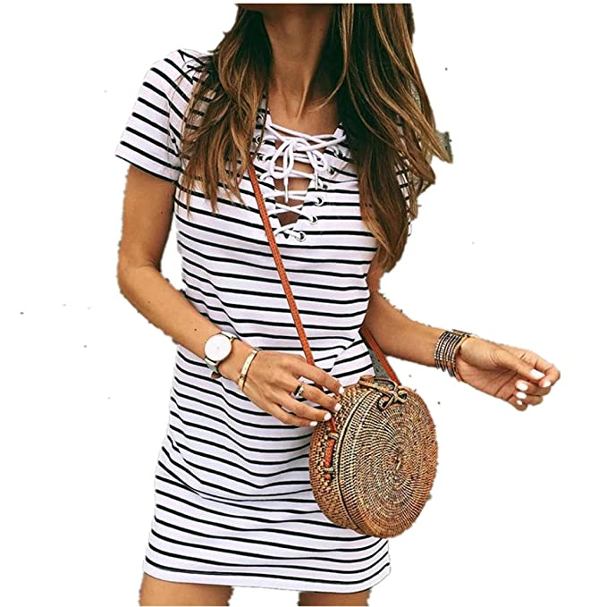 5c358713c66b Kleid damen Kolylong® Frauen Elegant V-Ausschnitt Streifen Kleid Kurz  Vintage Bandage Kurzarm Kleid Beiläufig T-Shirt Kleider Sommerkleid  Minikleid ...