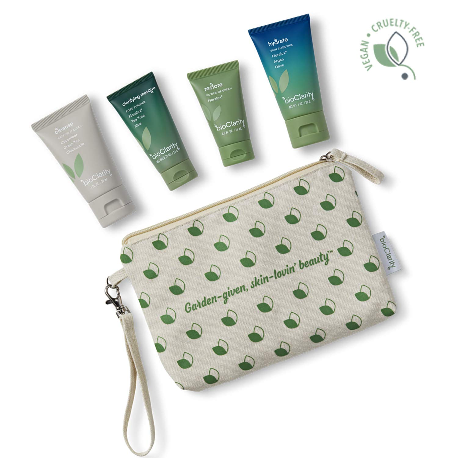 bioClarity Travel-size Skincare Set | 100% Vegan, Skincare Trial Kit | Essentials 3-step Skin Routine + Clarifying Mask with Travel Tote