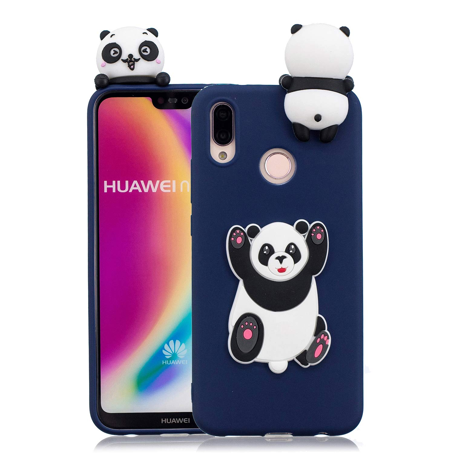 3D Cartoon Animal Case for Xiaomi Redmi Note 5 Pro, Yobby Xiaomi Redmi Note 5 Pro Cute Kawaii Pattern Case Slim Soft Flexible Rubber Silicone Shockproof Protective Back Cover-Panda Red Bow