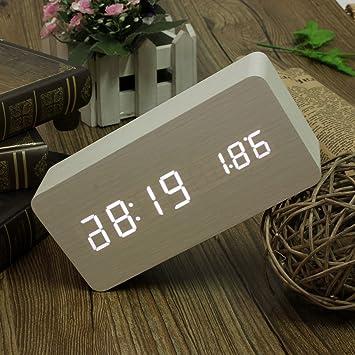 AUDEW Reloj despertador digital Madera Temperatura USB Sound Control / AAA Termómetro de Alarma Digital Calendario Madera Reloj LED Control de Voz ...