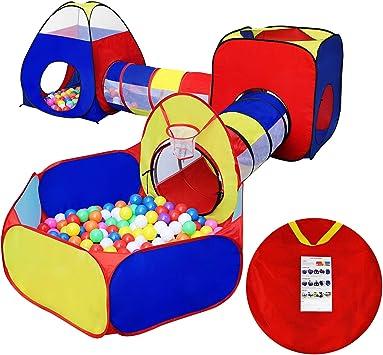 KMiKE - Tienda de campaña para niños con túnel y caseta para jugar ...