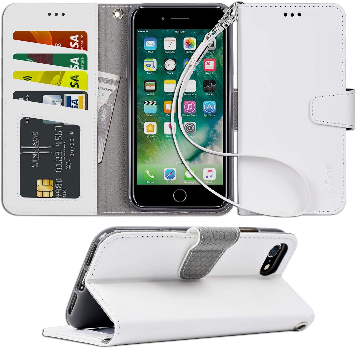 Arae Case for iPhone 7 / iPhone 8, Premium PU Leather Wallet Case with Kickstand and Flip Cover for iPhone 7 (2016) / iPhone 8 (2017) 4.7 inch (not for iPhone 7/8 Plus) (White)