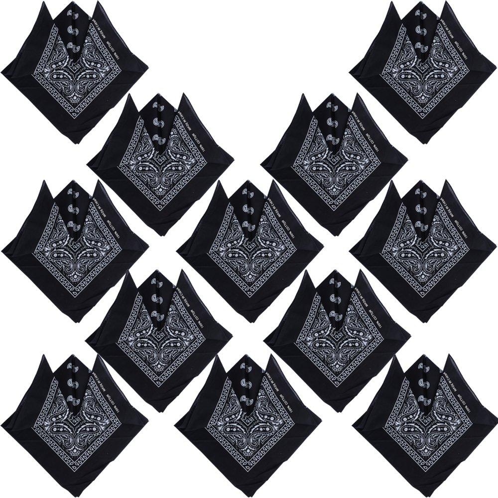 (100% Cotton) 3pcs 6pcs 12pcs Bandanas Headband Paisley Pattern Multifunction Headwear Head Neck Square Scarf Wrist Wrap QM-CS0009