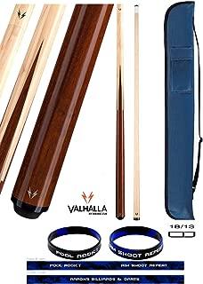 product image for Valhalla VA241 by Viking 2 Piece Pool Cue Stick 4 Splice Point Construction Exotic Wood 18-21 oz. Plus Cue Case & Bracelet (Hustler VA241, 18)