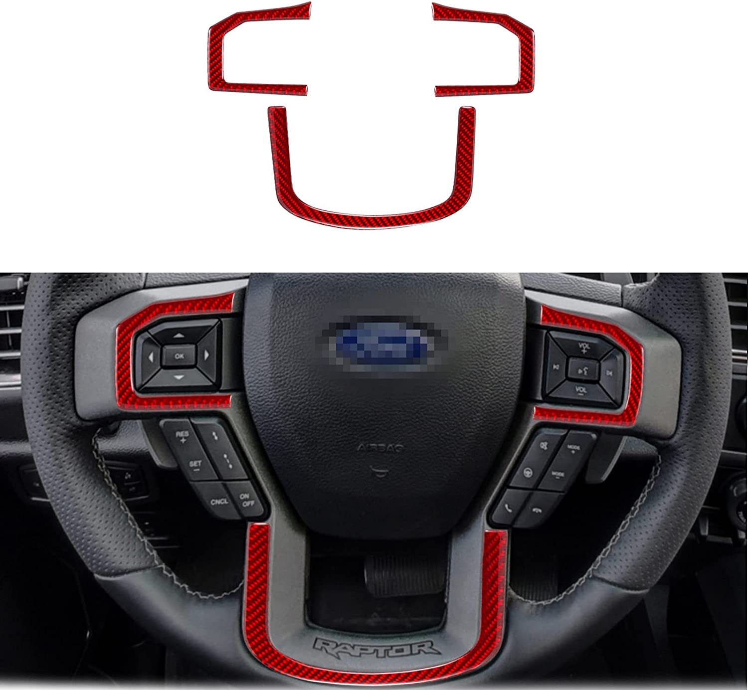 3Pcs nuoozy Compatible with Carbon Fiber Steering Wheel Cover Trim for Ford F-150 2015 2016 2017 2018 2019 2020 Red