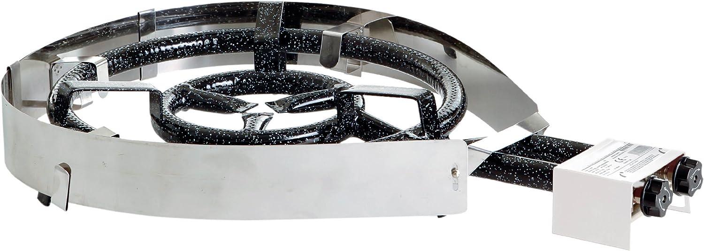 PaellaWorld International Paella Juego de Accesorios de Calor y Protector de Viento para Gas Anillo Grabadora, Plata