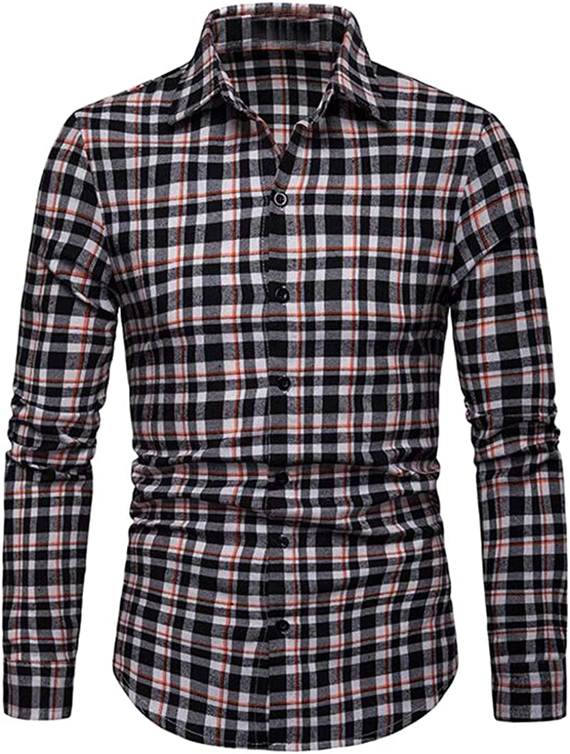 Domple Mens Long Sleeve Loose Fit Button Down Plaid Formal Dress Work Shirt