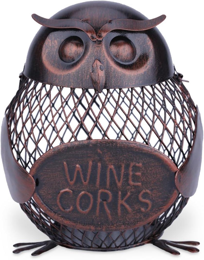 TOOARTS - Contenedor de Corcho de Vino - BÚHO - Utensilios para Tapones de Botellas del Estilo Metálico para Casa Salón Bar Barra (Artesanía de Hierro)