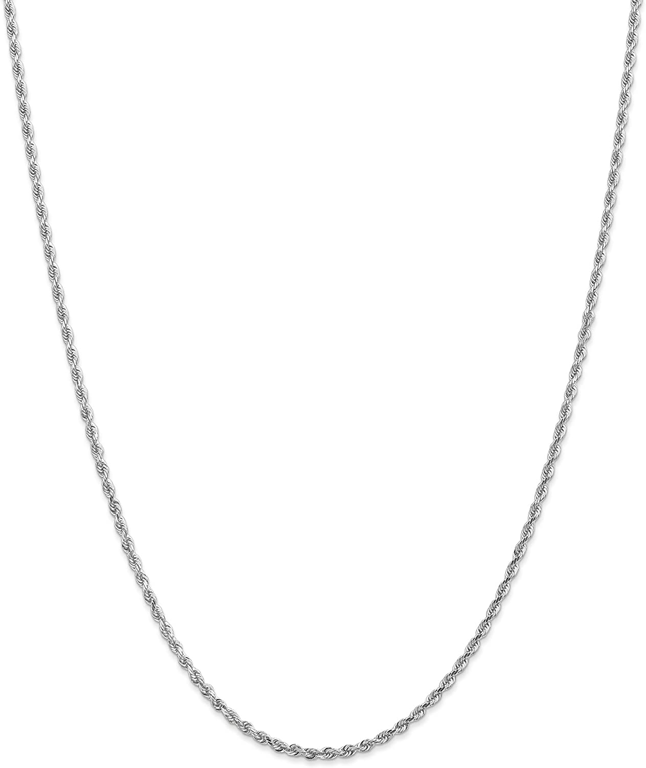 14k White Gold Rope Chain Anklet with Secure Lobster Clasp Fine Jewelry Ideal Gifts For Women