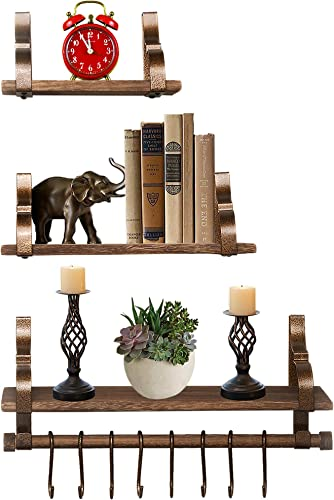 OMISHOME 3 Shelf Floating Wood Shelves – Wall Mounted – Towel Bar – 8 Bonus Hooks – Brown Shelves – Weathered Copper Hangers – Great as a Gift