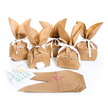 10 Stück Braune Natürlich Lustige Osterhasen Hasen Papiertüten Weiß Beige Baumwollband Alternative Zum Osternest F Kinder Erwachsene Give Away