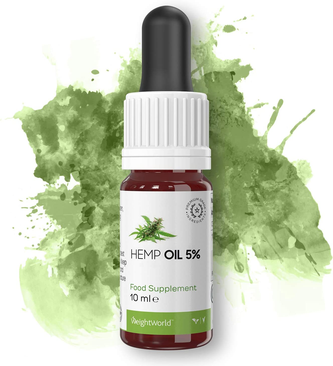 Suplemento Hemp Oil | Suplemento de Aceite de Semillas de Cáñamo para el Bienestar y Salud General | Ayuda con Estrés, Ansiedad y a Aliviar Dolor Muscular y de Articulaciones | 10 ml | WeightWorld