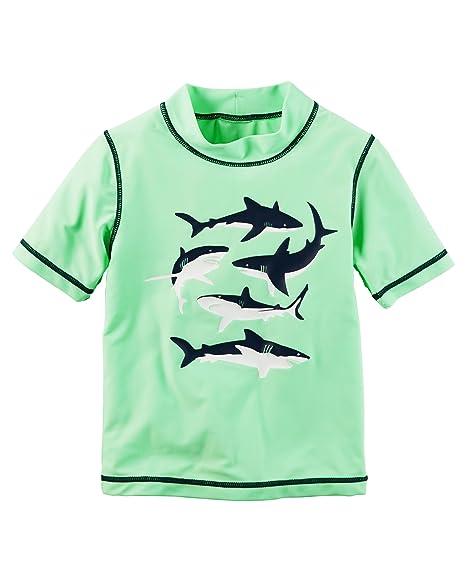 c18f2e001 Amazon.com: Carter's Toddler boys' Shark Rashguard, Green, 4T: Clothing