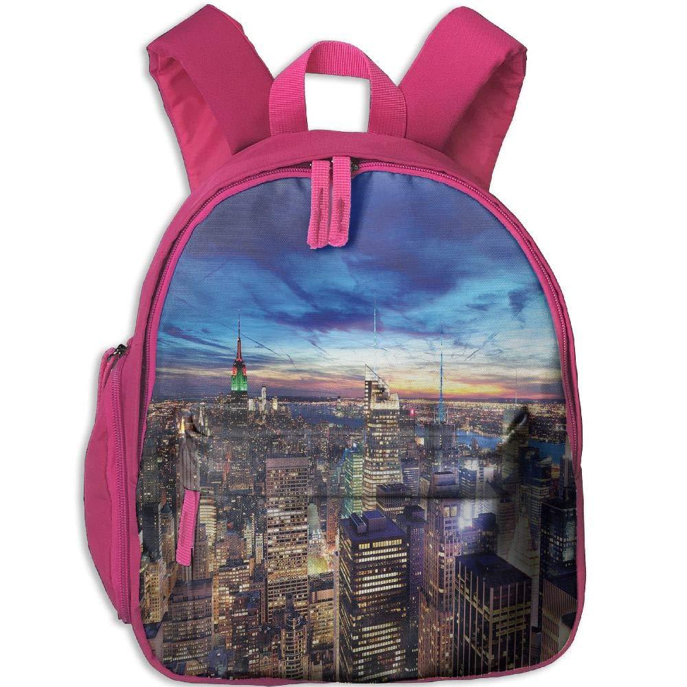 Haixia 子供用 男の子&女の子 バックパック ポケットシティエンパイアステートとスカイスクレーパー付き ミッドタウン マンハッタン ニューヨーク空中風景 ダスクタン ネイビーブルー アクア One Size ピンク B07GYD68CG