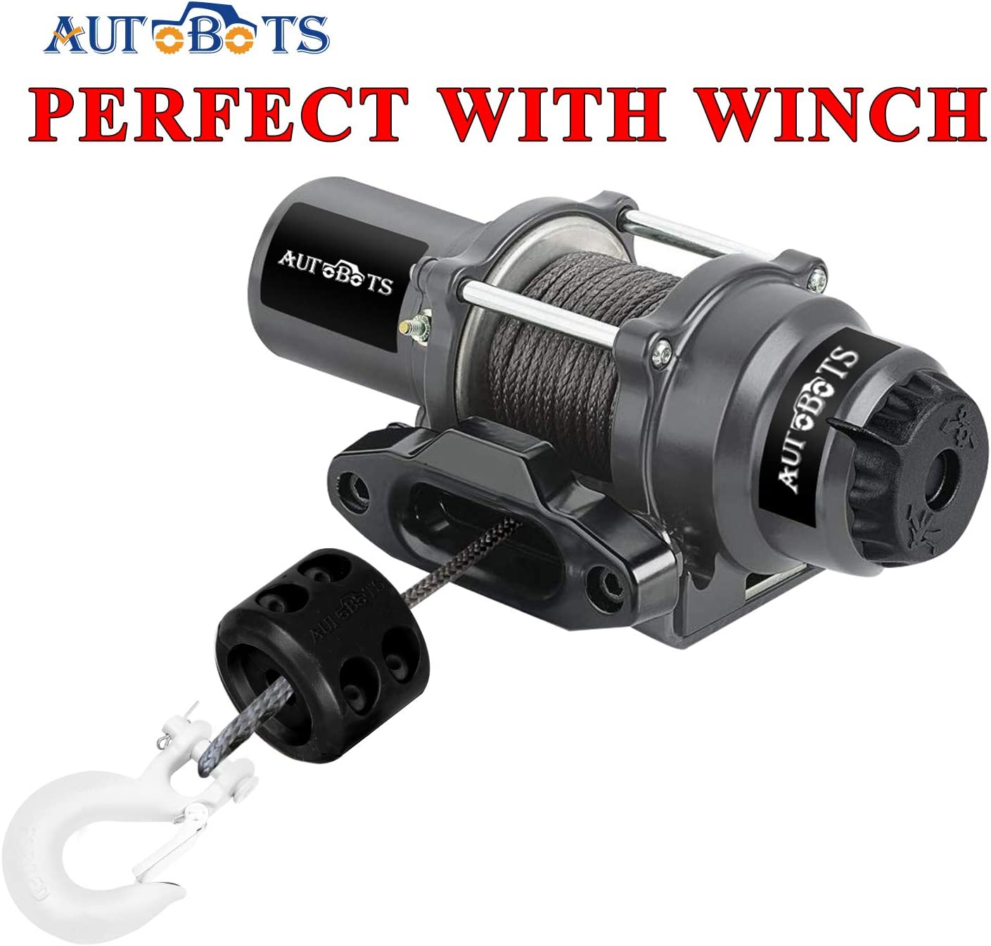 White Black AUTOBOTS Forged Steel 3//8 Grade 70 Safety Latch Black Winch Cable Hook Stopper /& Clevis Slip Winch Hook Sets Max 35,000 lbs