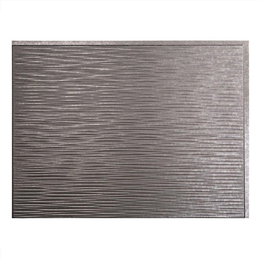 Fasade Easy Installation Ripple Brushed Nickel Backsplash Panel for Kitchen and Bathrooms 18 sq ft Kit