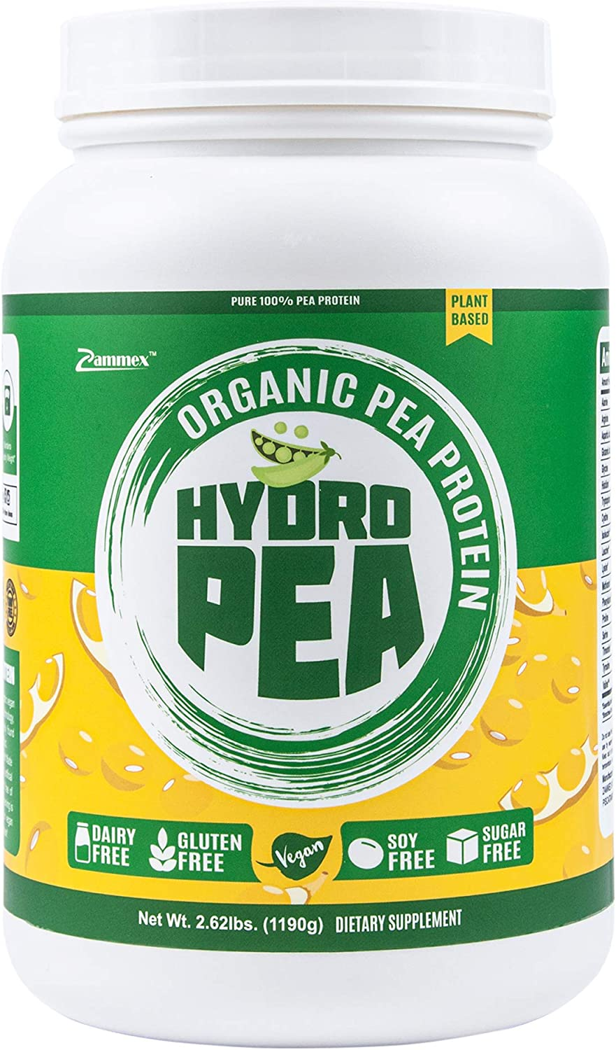 HydroPea - 100% Pure Organic Hydrolyzed Pea Protein Powder - Easy to Digest, Plant Based Vegan Protein, Natural Unflavored, Dairy Free, Gluten Free, Soy Free, Sugar Free, Non-GMO with BCAA 2.62lb