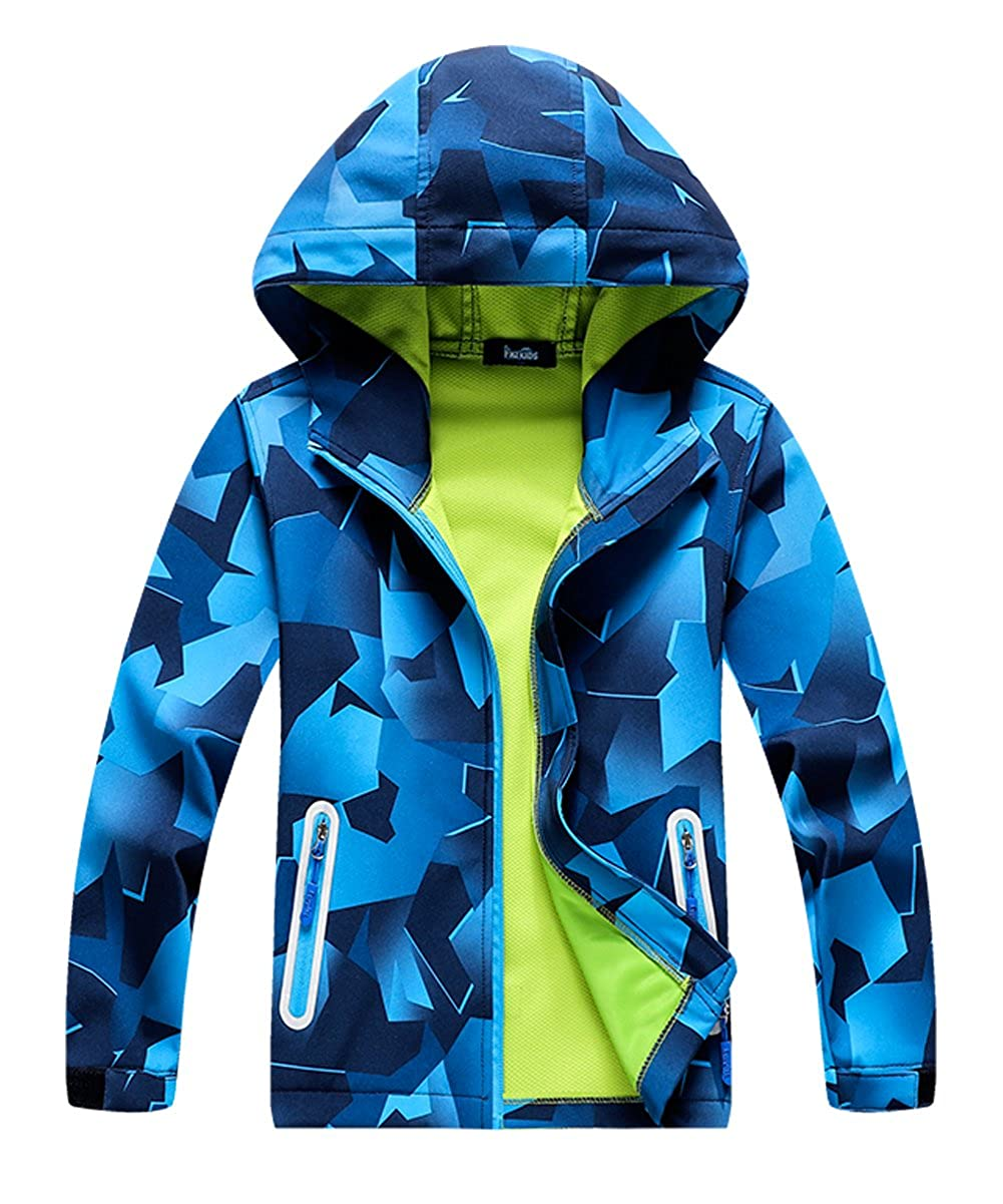 M2C Boys Hooded Outdoor Color Block Softshell Windproof Jacket with Composite Mesh CNJP08CAB