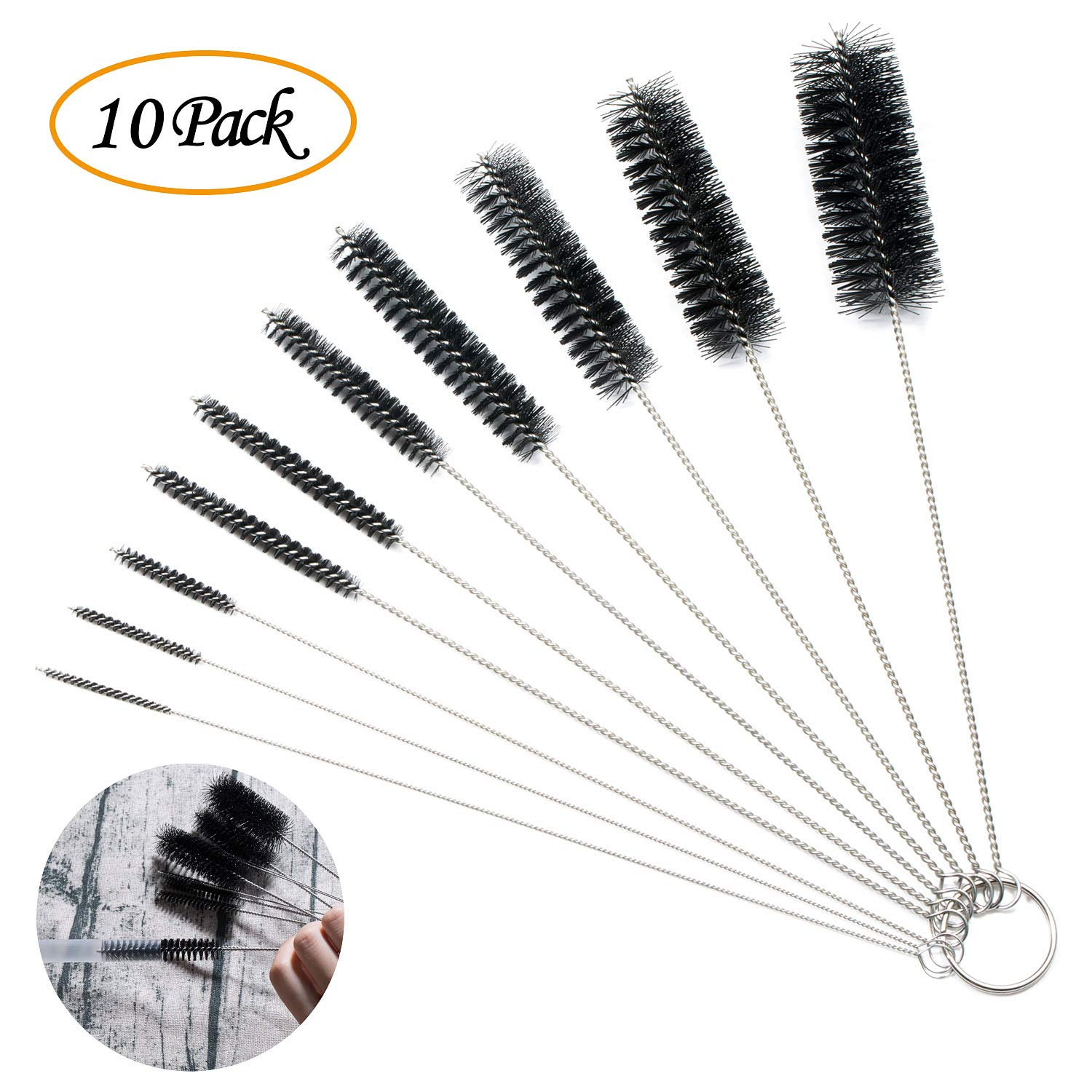 ZOEON Nylon Cleaning Brush 10Pcs Tube Brush Set Kettle Spout Brush for Bottle, Tube, Jar and Keyboards