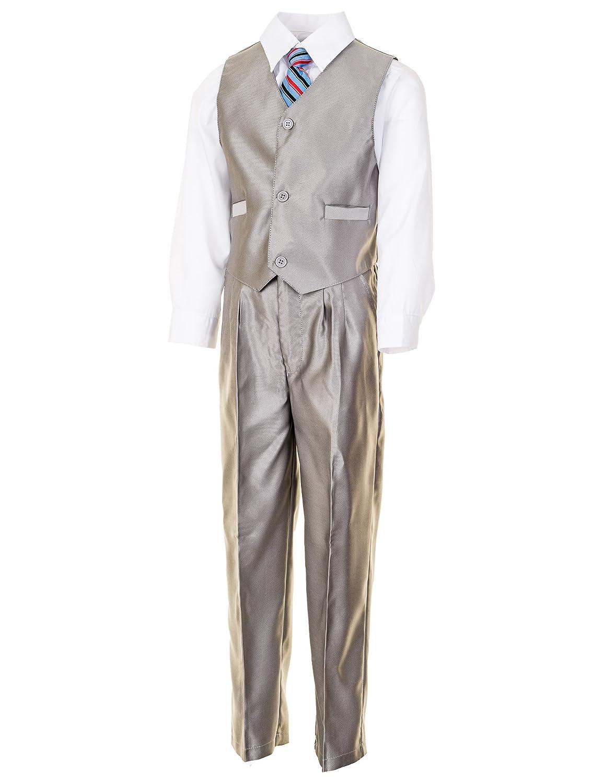Jungen Anzug Silber mit Jacke,Hose,Hemd,2 Westen,2 Krawatten Festlicher 7 tlg