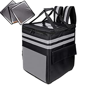 cherrboll XL Insulated Pizza Delivery Backpack, Commercial Thermal Food Delivery Bag with 3 Dividers/Padded Handles, Ideal for Postmates, Uber Eats