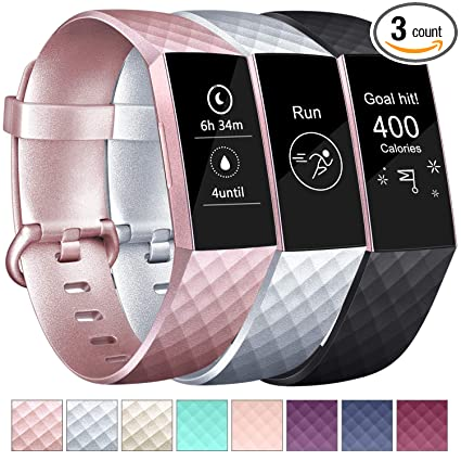 Amzpas Bands Compatible with Fitbit Charge 3 Bands, Classic Sport  Wristbands Accessory Small Large Adjustable Replacement Watchband for Women  Men, 3