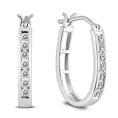 96e30e25e AGS Certified 1/2 Carat TW Diamond Hoop Earrings in 10k White Gold (K-L
