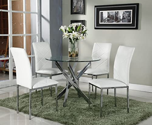 Limitless Home Round Dining Set With 4 White Chairs