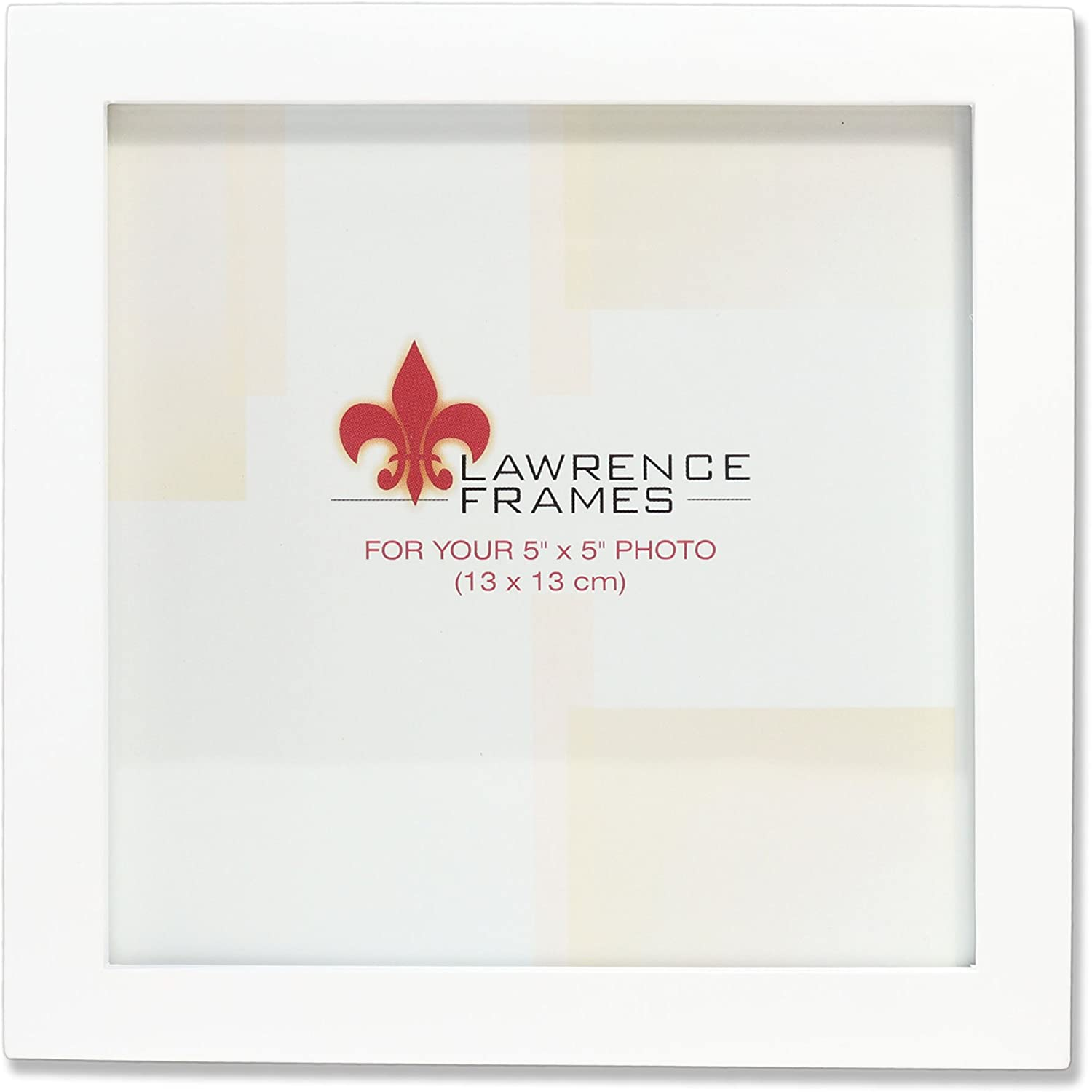 Lawrence Frames White Wood Picture Frame, Gallery Collection, 5 by 5-Inch