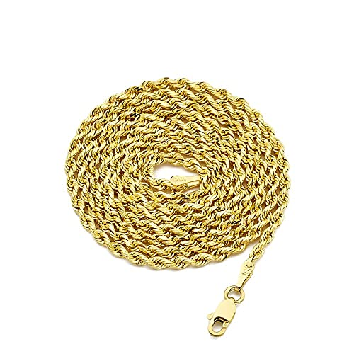 2cca18cfc59d7 LOVEBLING 10K Yellow Gold 2.5mm Solid Diamond Cut Rope Chain Necklace with  Lobster Lock
