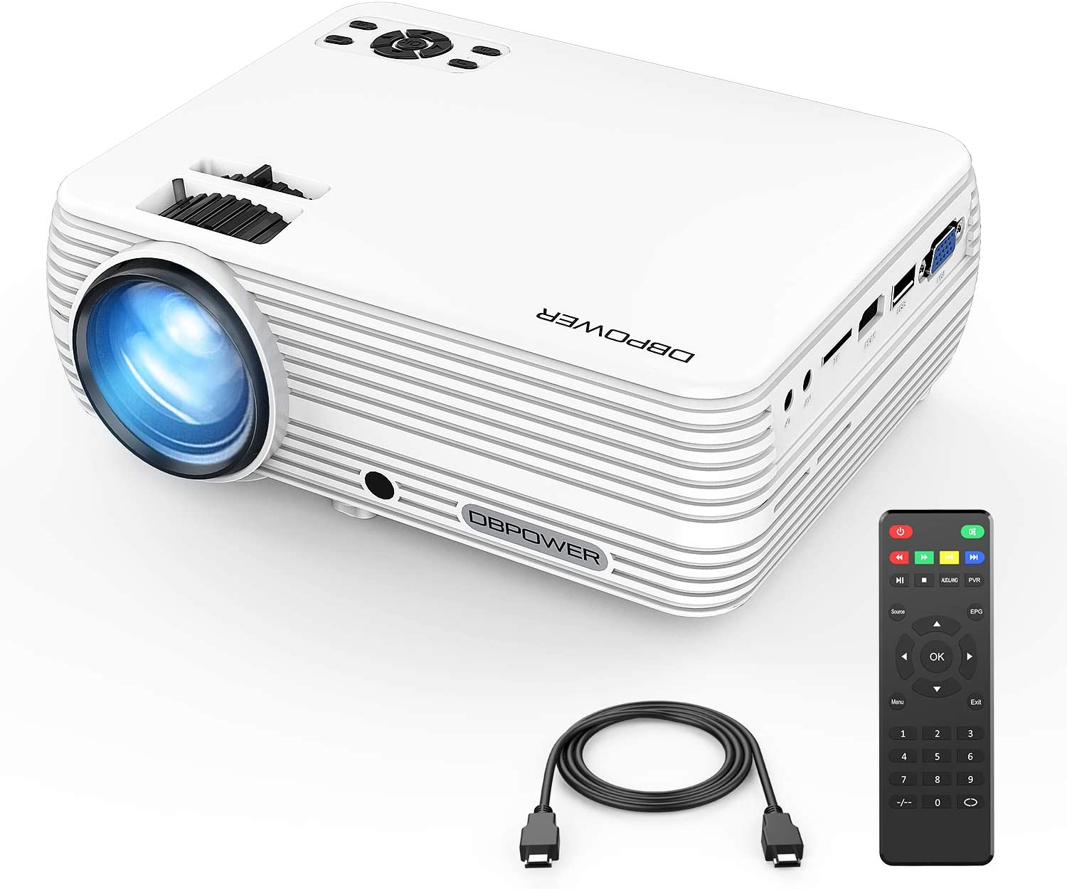 Mini Projector, DBPOWER Portable Projector 2400 Lumens 50,000 Hours LED Full HD 1080P Support Video Projector, Compatible with iPhone, ipad,AV, USB, ...
