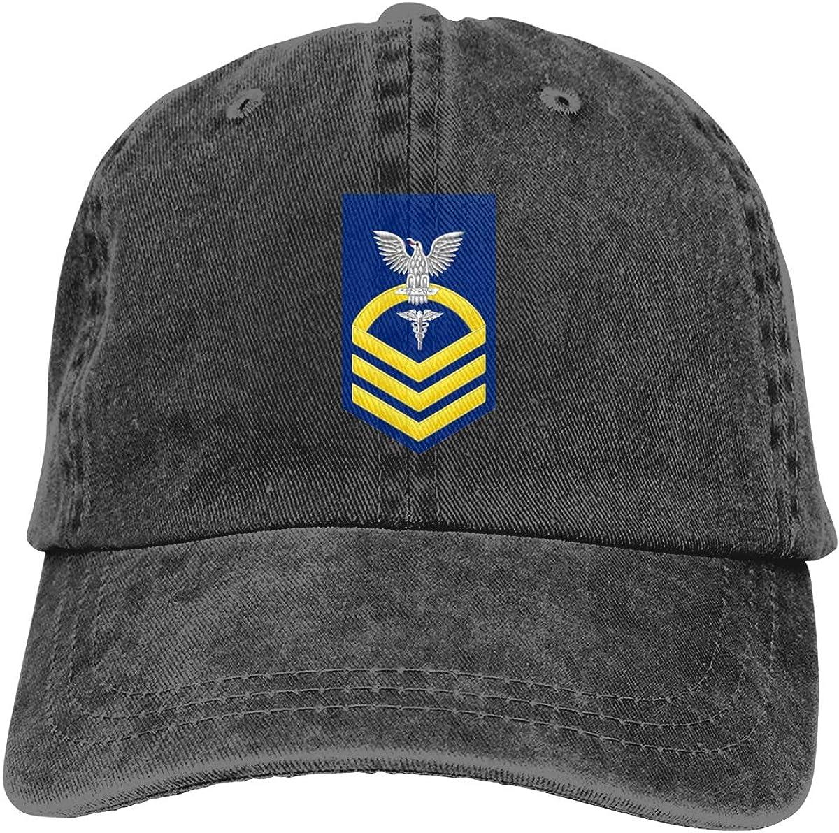 U.S Navy Chief Gold E-7 Hospital Officer HM Military Cap Women Men Baseball Hat Adjustable