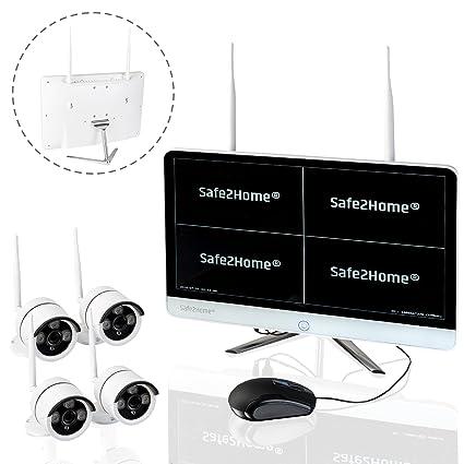 SAFEPRINT 2home ® Juego de Vigilancia inalámbricos Alemán – 4 x Full HD CAM Visión Nocturna
