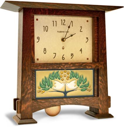 Motawi Tileworks Craftsman Clock With Lovebirds tile