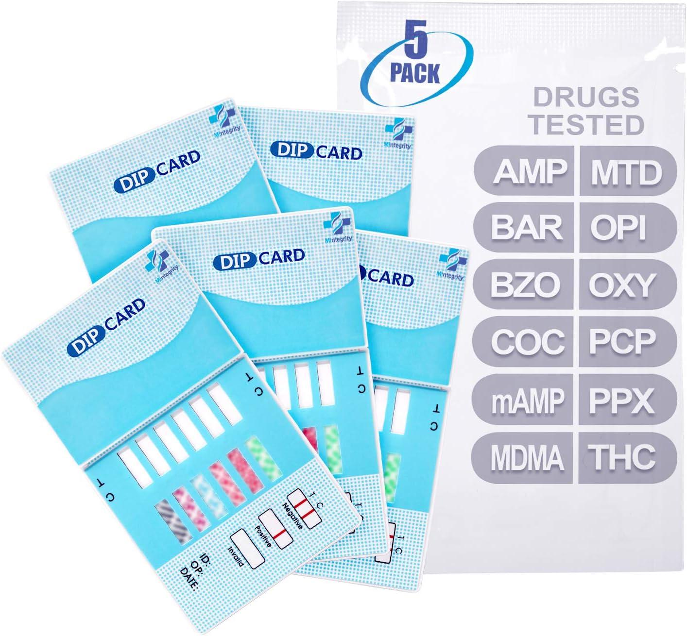 MiCare [5pk] - 12-Panel Urine Test Card (AMP/BAR/BZO/COC/mAMP/MDMA/MTD/OPI/OXY/PCP/PPX/THC) #MI-WDOA-1124