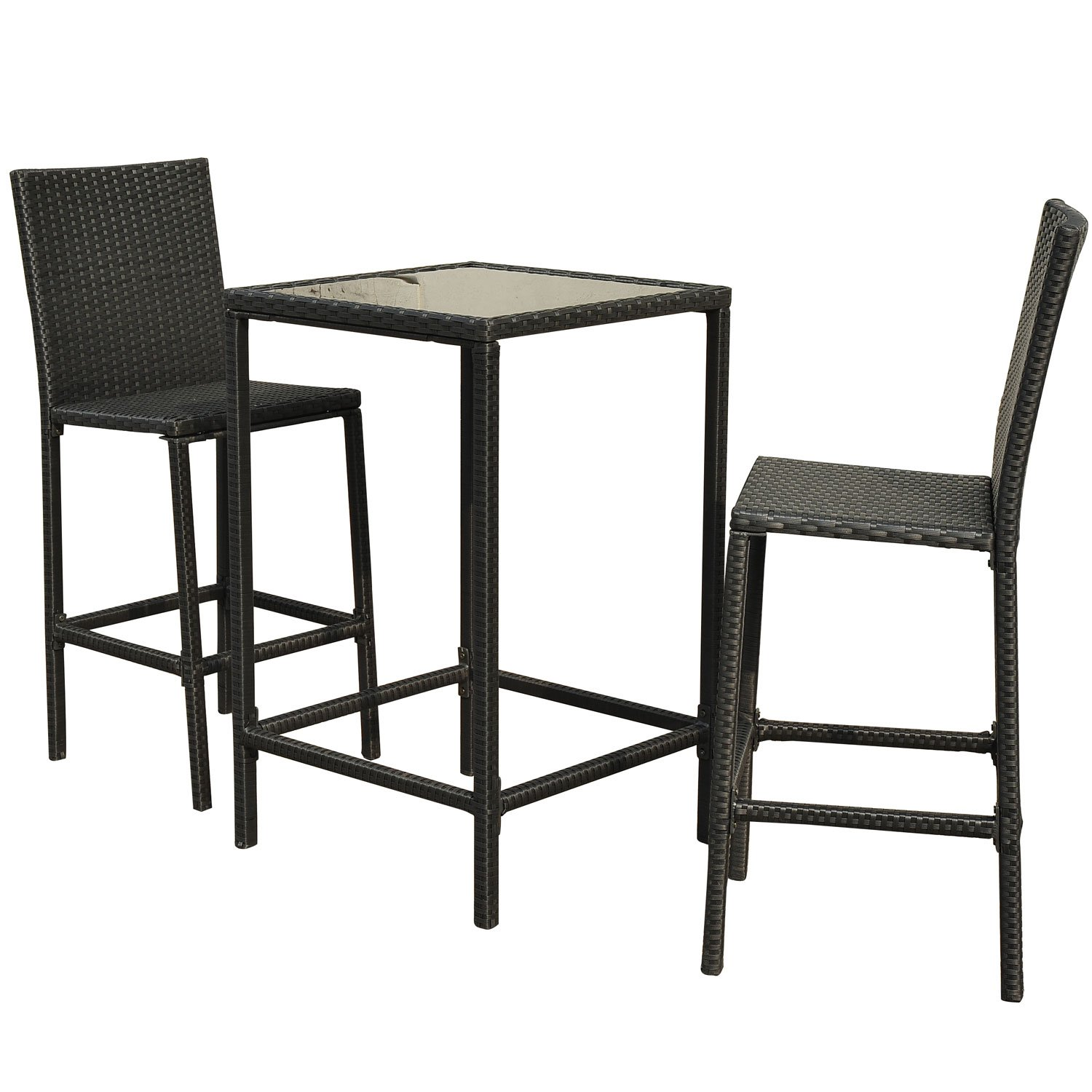 Amazon Outsunny 3 Piece Outdoor Rattan Wicker Patio Bistro