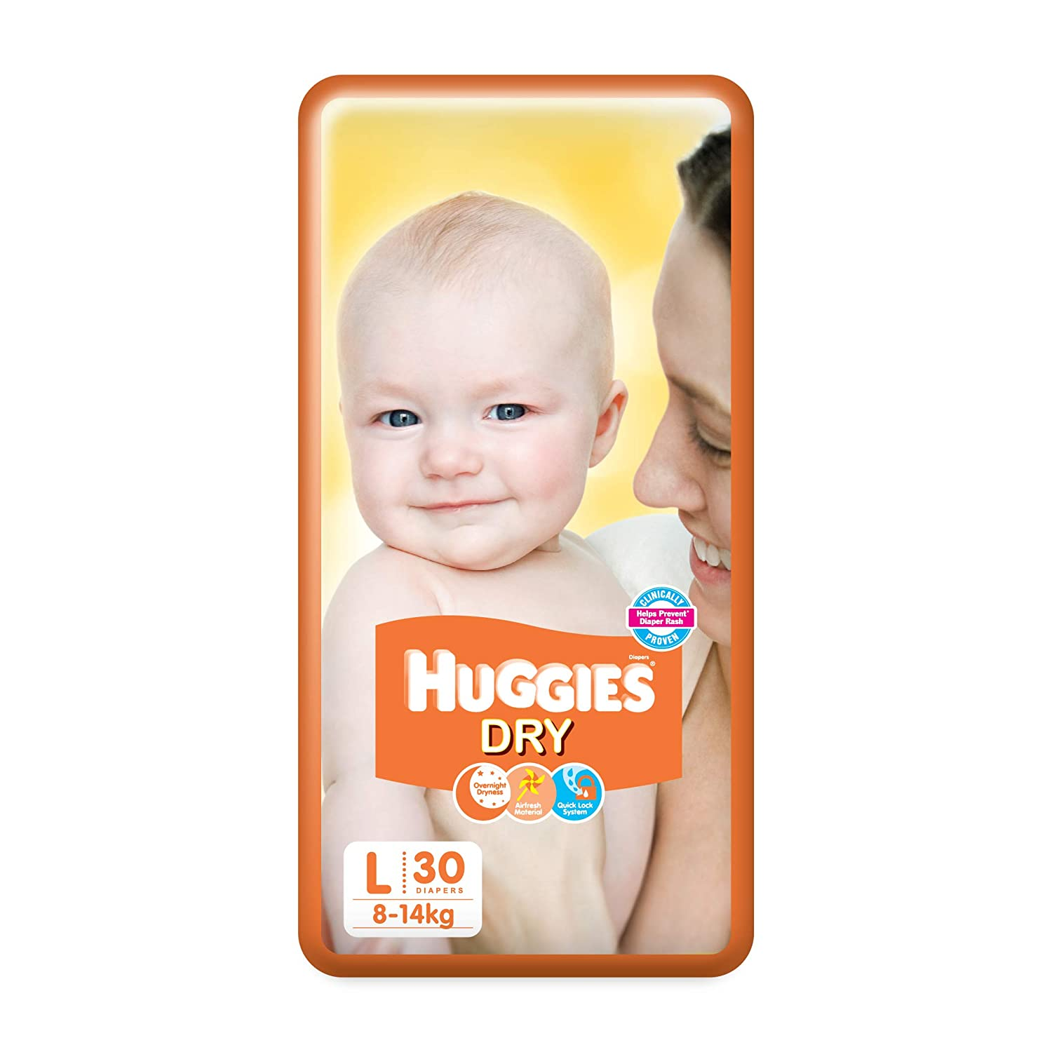 Huggies New Dry Diapers, Large (Pack of 30)