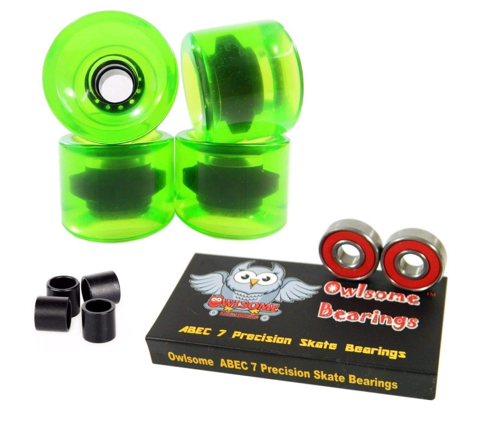 Good Skateboard Blank 65Mm 82A Gel Green Cruiser Wheels + Precison ABEC 7 Bearings