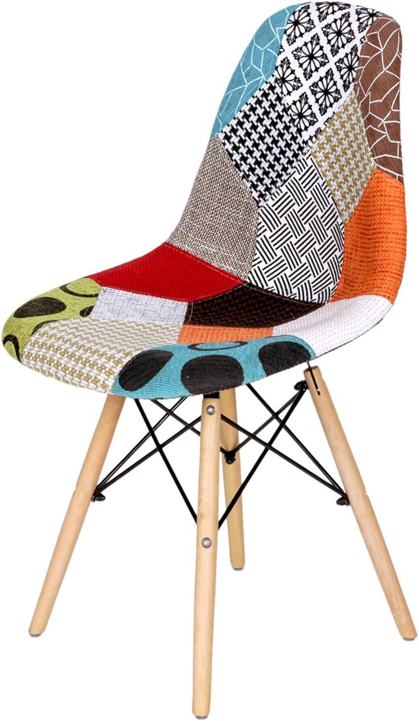 EGOONM Set di 4 Sedie Patchwork Multicolore in Tessuto di Lino Tempo Libero Sedie da Soggiorno Sedie da Pranzo con Schienale con Cuscino Morbido Rosso-2