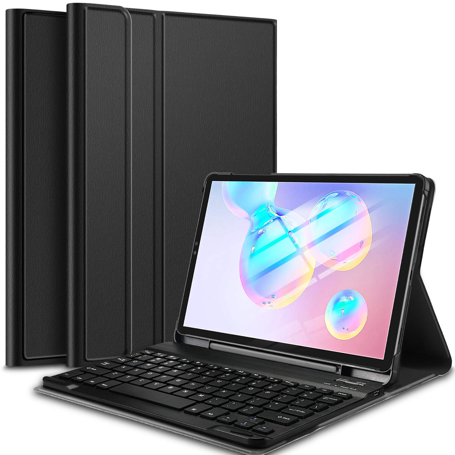 IVSO Keyboard Case for Samsung Galaxy Tab S6 10.5 (QWERTY), Slim PU Case with Detachable Wireless Keyboard for Samsung Galaxy Tab S6 SM-T860/T865 10.5 2019, Black