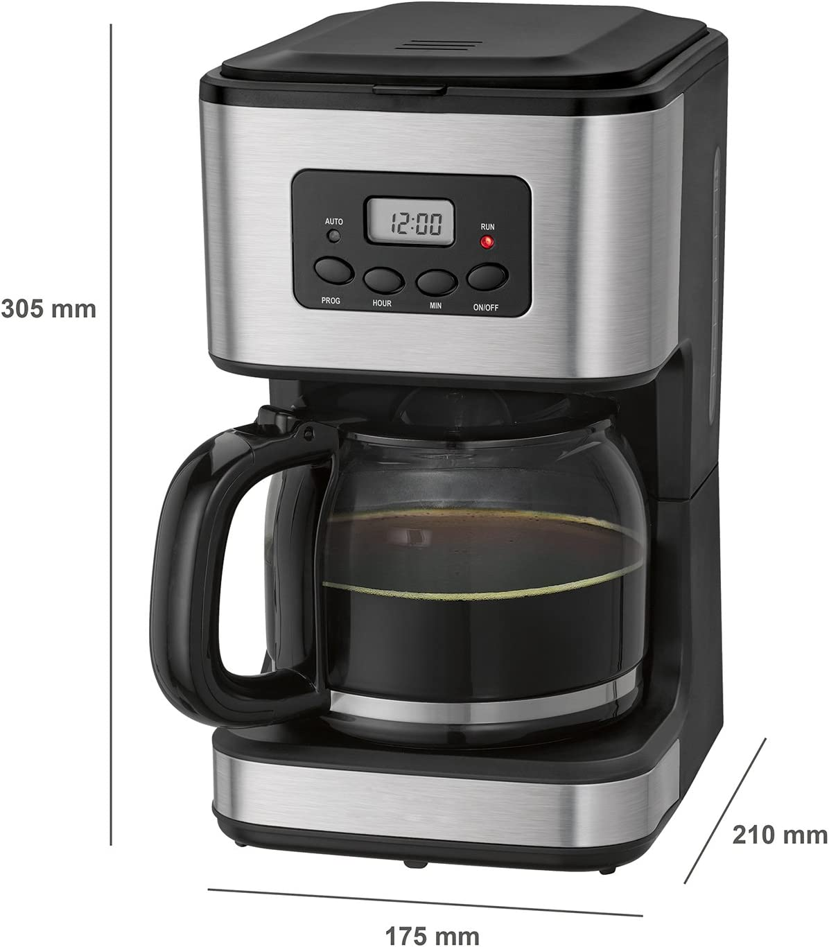 briebe Cafetera programable eléctrica de Goteo automática, máquina café de Filtro Capacidad 12 a 14 Tazas, 1,5 litros, Display Digital Hora 24h/Temporizador, 900 W, Color Negro Acero Inoxidable: Amazon.es: Hogar