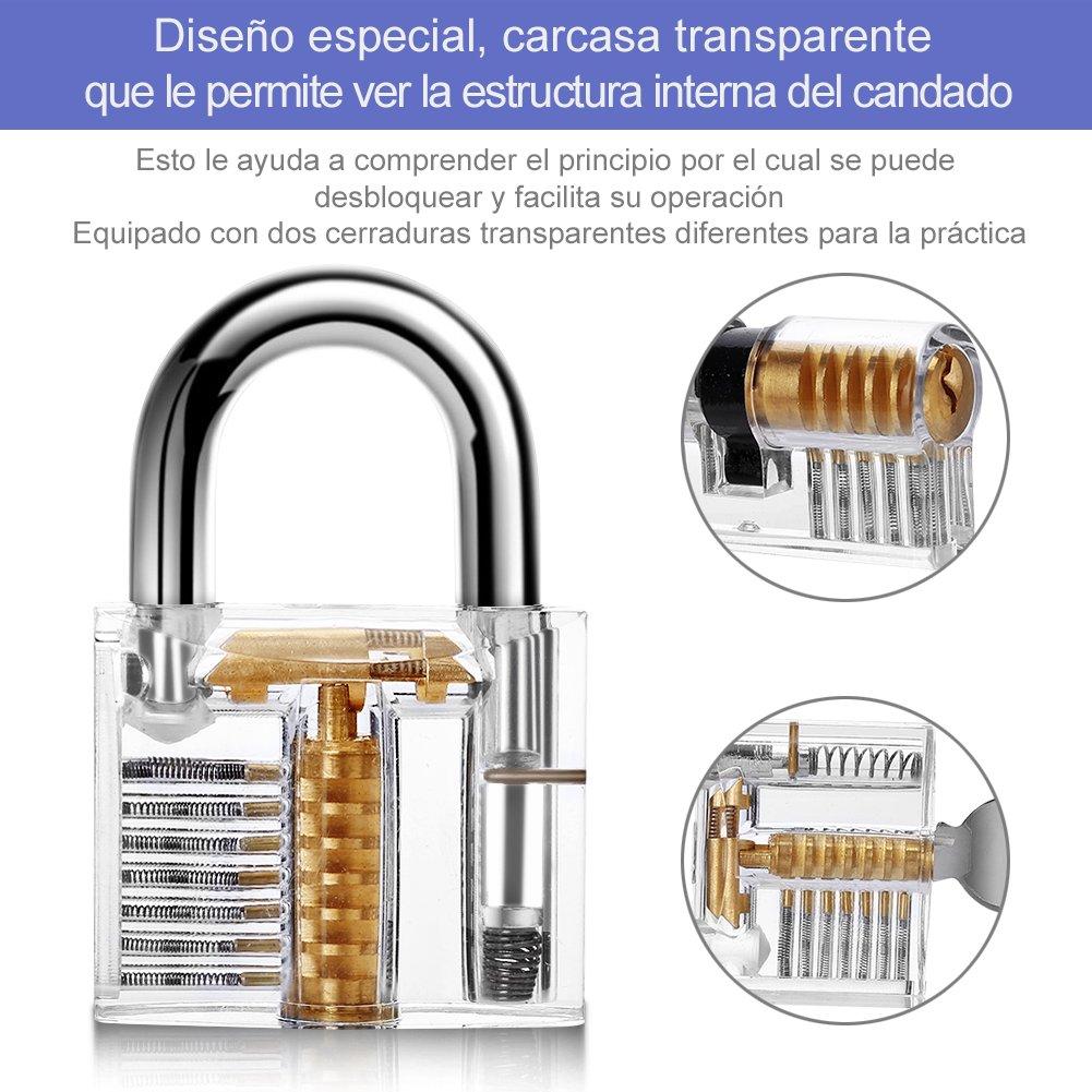 Juego de Ganzúas 19 Piezas, LOETAD Conjunto de Ganzúas con 2 Cerraduras Transpartentes para Principantes con un Maletín de Transporte - Material Acreo: ...