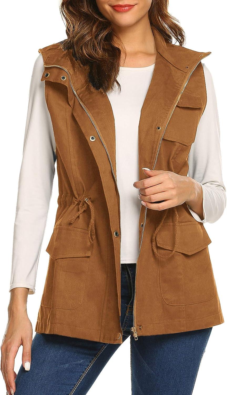 Beyove Womens Lightweight Sleeveless Military Anorak Cargo Vest Hooded/No Hood