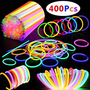BUDI 400 Pack Glow Sticks Glow in the Dark Party Favors Glow Party Supplies for Kids and Adults