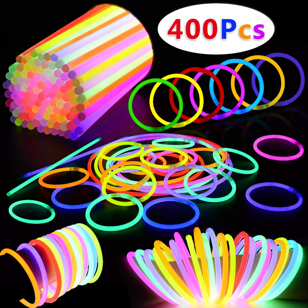 BUDI 400 Pack Glow Sticks Glow in the Dark Party Favors Glow Party Supplies for Kids and Adults by BUDI