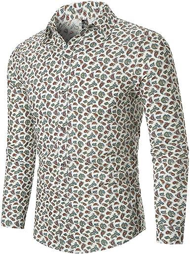Vectry Hombres Otoño Étnico Negocios Ocio Impresión Camisa De Manga Larga Blusa Superior Boda Negocios Traje De Hombre: Amazon.es: Ropa y accesorios