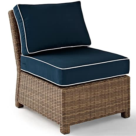 Crosley Furniture Bradenton Outdoor Wicker Sectional Center Chair With  Cushions   Navy