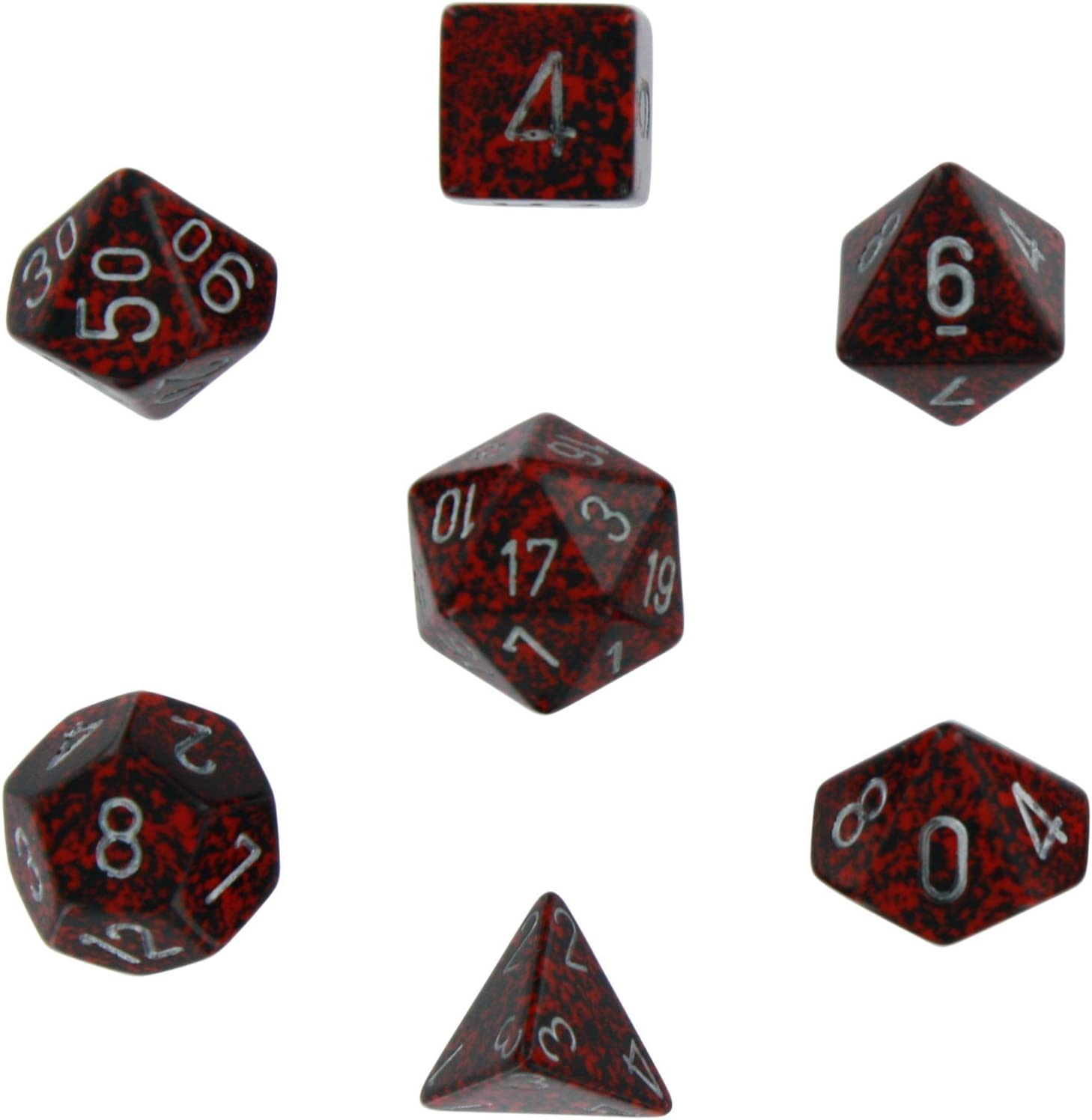 Chessex Dice Polyhedral 7-Die Set - Speckled Silver Volcano